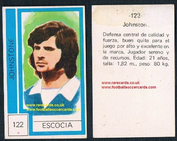 1974 Scotland World Cup Derek Johnstone - from Chile - Glasgow Rangers